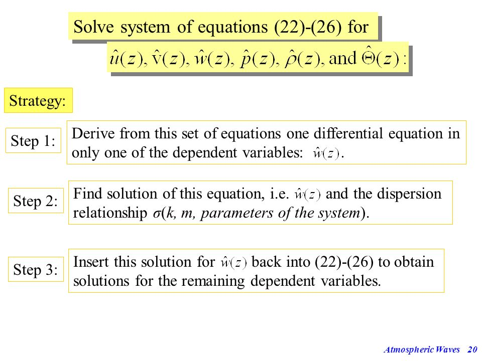 Atmospheric Waves19 Inserting etc. into eqs (17)-(21) gives the following set of ordinary differential equations in z (derivatives only in z!): No x a