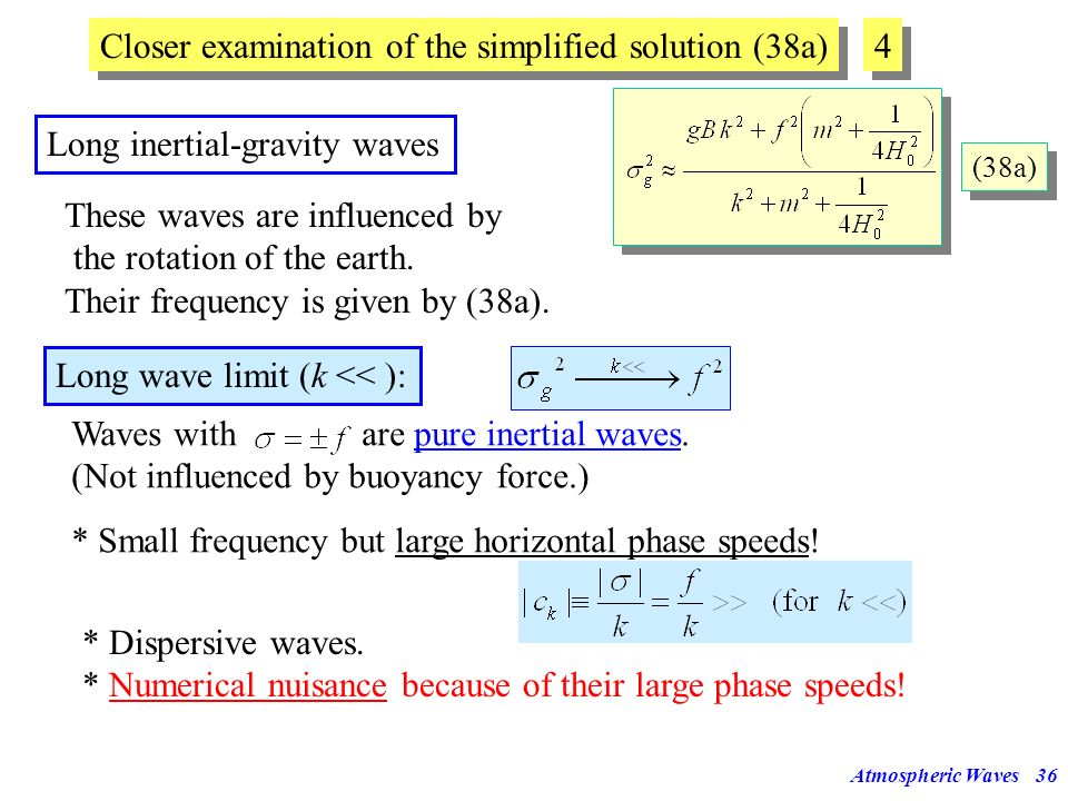 Atmospheric Waves35 Since Group velocityis perpendicular to phase velocity ! Dispersive waves: Horizontal and vertical phase speeds depend on the wave