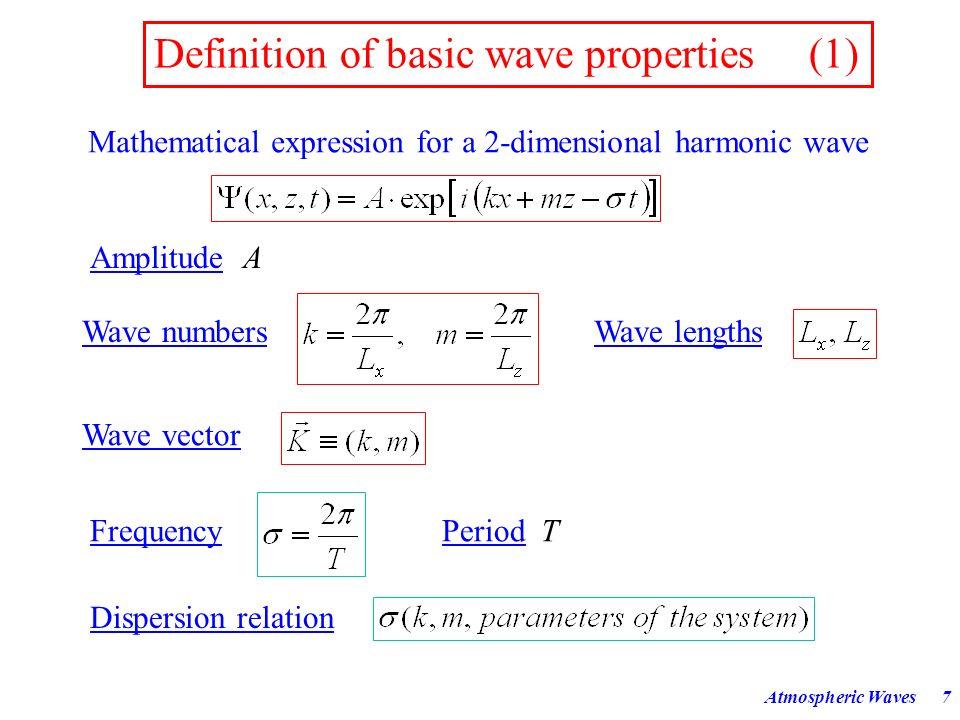 Atmospheric Waves37 Dispersion Diagram c k (k) Horizontal Wavelength [km] Horizontal Phase Speed [m/s] 10000100010010 100 1000 10000 30h 3h 20min 2min 10s k ckck σ >σ > < T From J.
