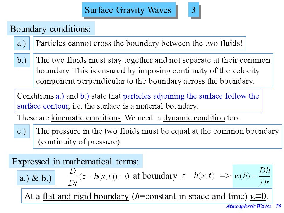 Atmospheric Waves69 Surface Gravity Waves 2 2 Equations governing the motion inside the fluid layer: We study only waves with small amplitude (small p