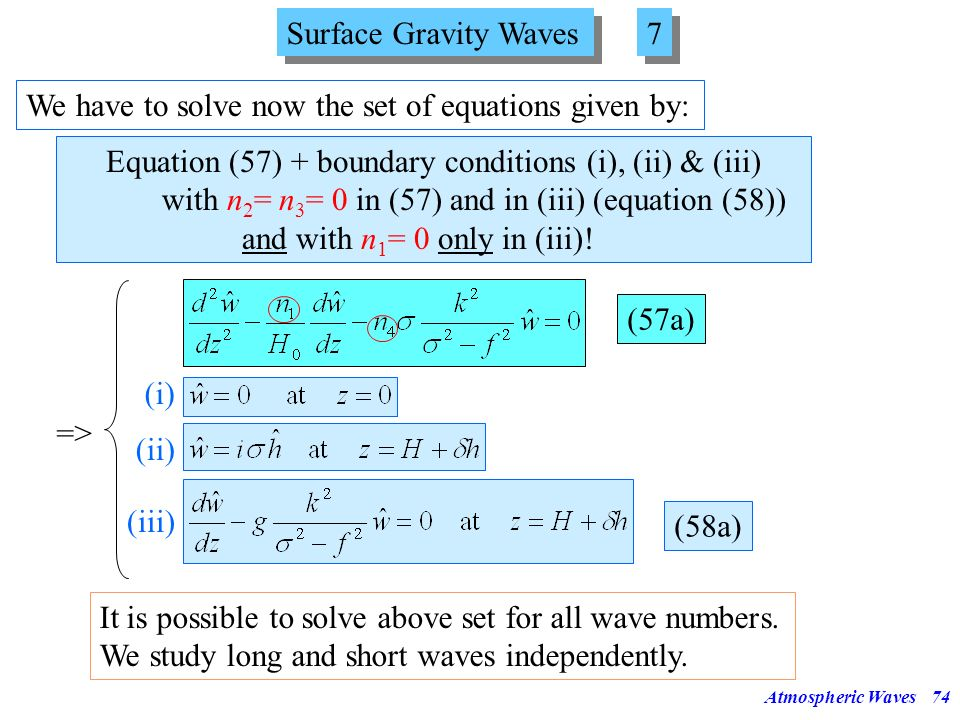 Atmospheric Waves73 Surface Gravity Waves 6 6 Condition (iii) can be shown (with the help of (29) and ) to be equivalent to Now we filter out the acou