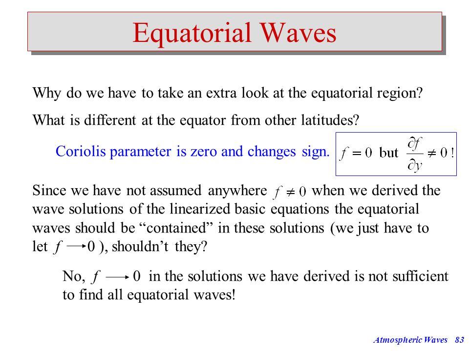 Atmospheric Waves82 f f... L= L=20km L=10km L=5km Horizontal Wavelength [km] Horizontal Phase Speed [m/s] 10000100010010 100 1000 10000 30h 3h 20min 2