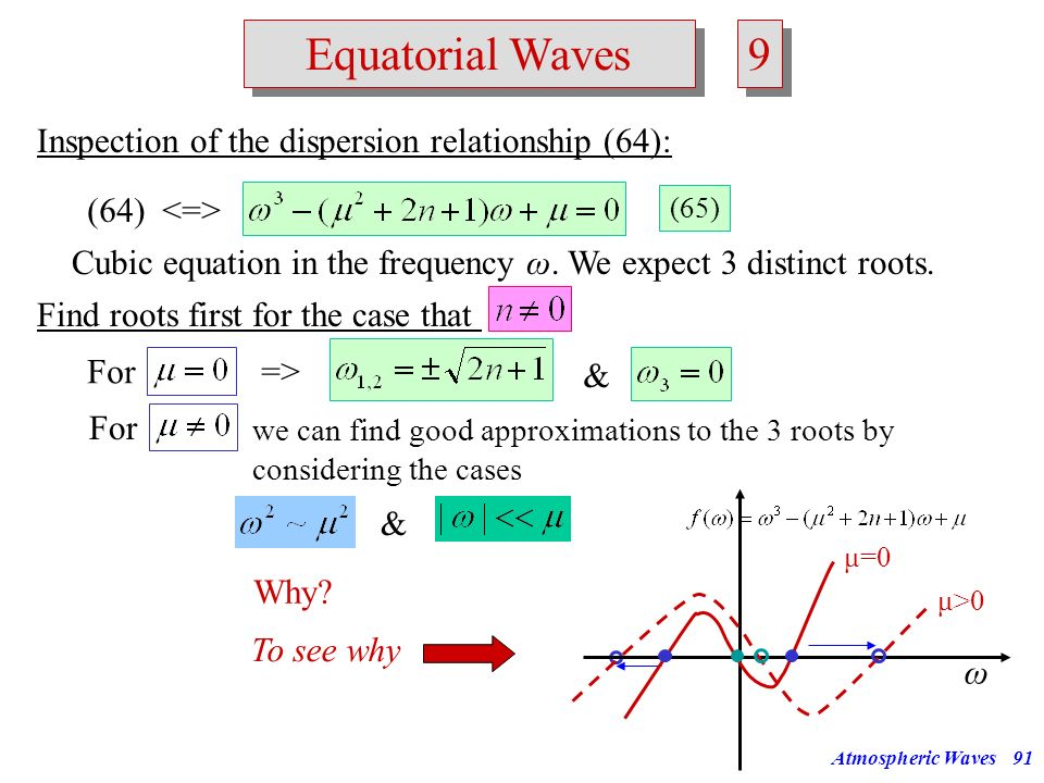Atmospheric Waves90 Equatorial Waves 8 8 Solutions for are given by Here H n is the Hermite polynomial of order n. Exercise: Insert the solution for n