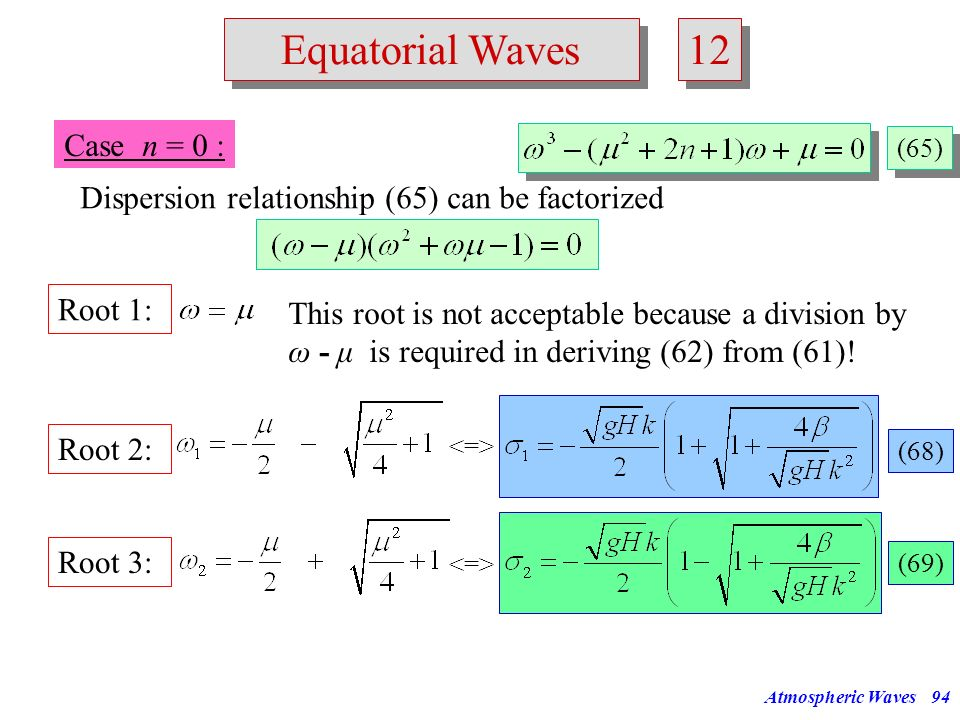 Atmospheric Waves93 Frequency zonal wave number Rossby waves westward moving gravity waves eastward moving gravity waves n=1 n=2 Equatorial Waves 11 F