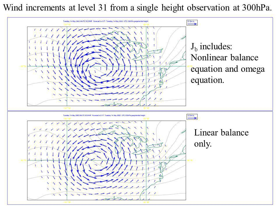 ECMWF Slide 22 Wind increments at level 31 from a single height observation at 300hPa. J b includes: Nonlinear balance equation and omega equation. Li