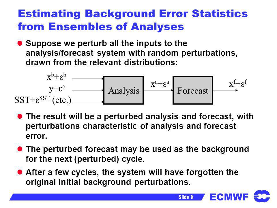 ECMWF Slide 9 Estimating Background Error Statistics from Ensembles of Analyses Suppose we perturb all the inputs to the analysis/forecast system with
