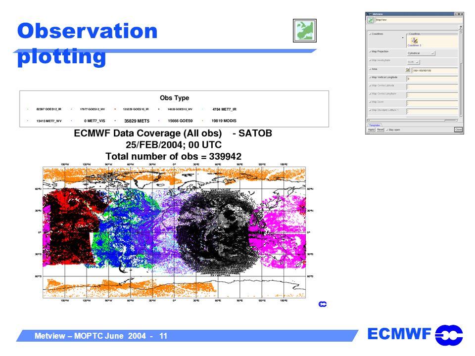 ECMWF Metview – MOPTC June 2004 - 11 Observation plotting