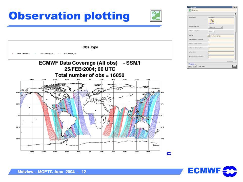 ECMWF Metview – MOPTC June 2004 - 12 Observation plotting