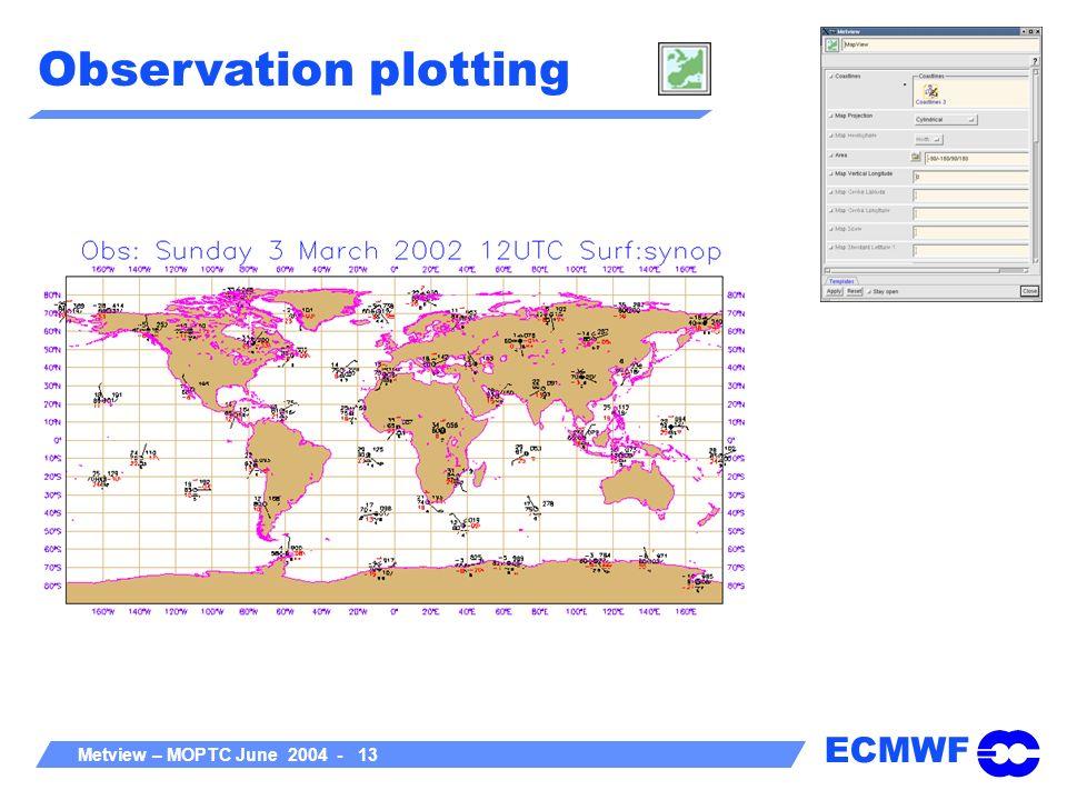 ECMWF Metview – MOPTC June 2004 - 13 Observation plotting