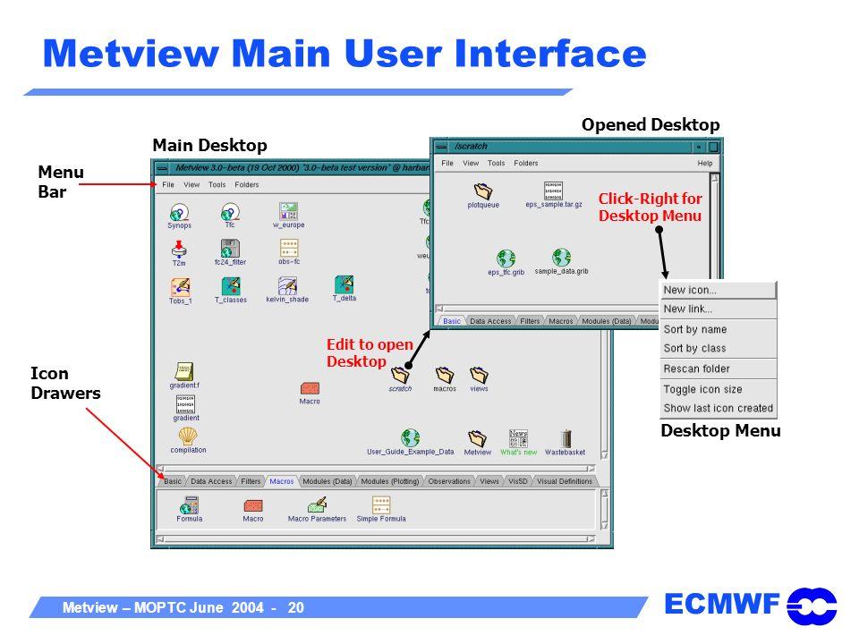 ECMWF Metview – MOPTC June 2004 - 20 Metview Main User Interface Edit to open Desktop Click-Right for Desktop Menu Main Desktop Opened Desktop Icon Dr