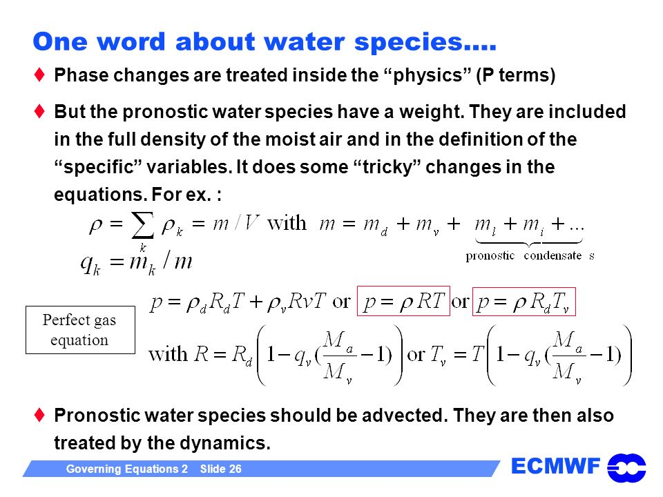ECMWF Governing Equations 2 Slide 26 One word about water species….