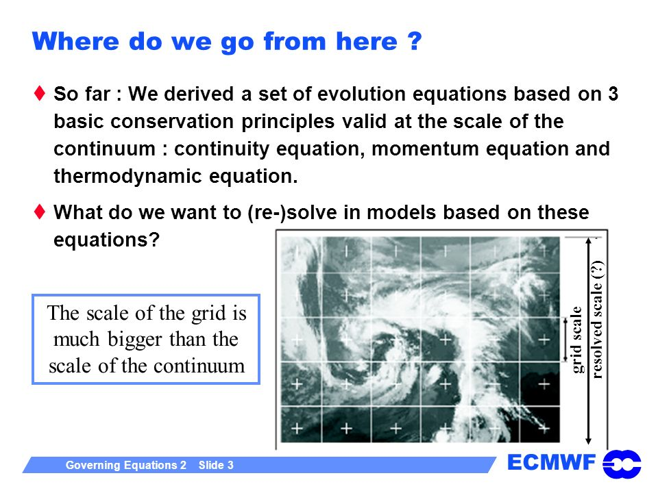 ECMWF Governing Equations 2 Slide 3 Where do we go from here .