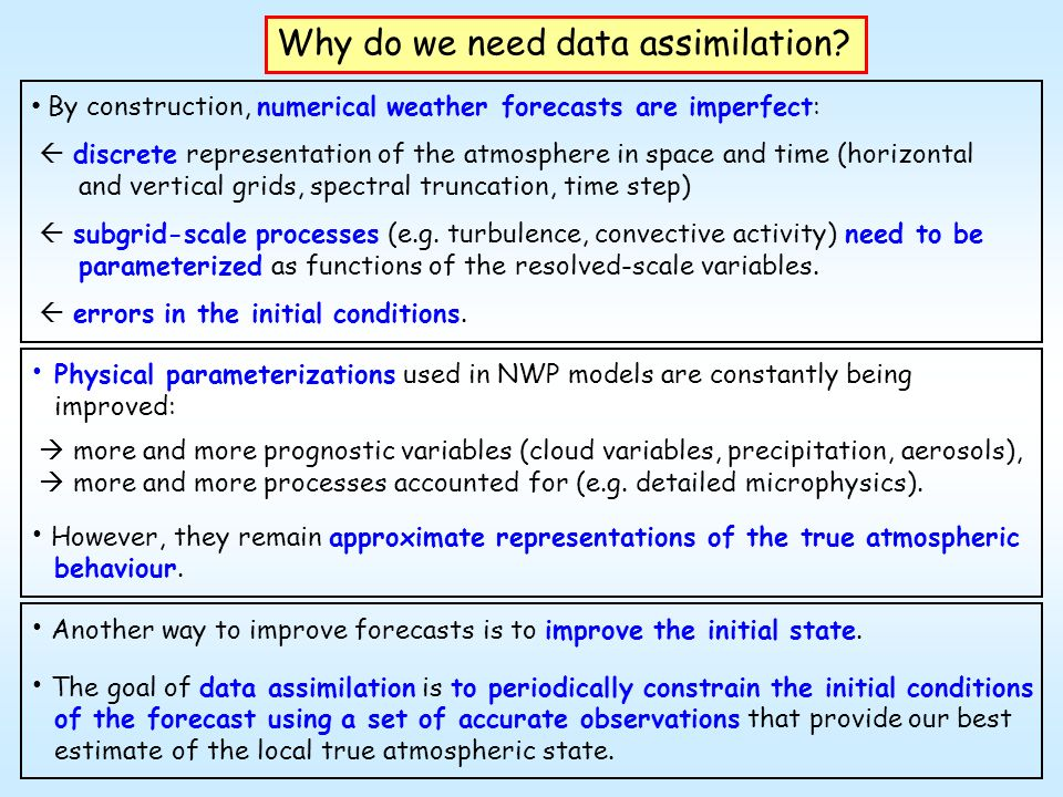 General features of data assimilation Goal: to produce an accurate four dimensional representation of the atmospheric state to initialize numerical weather prediction models.