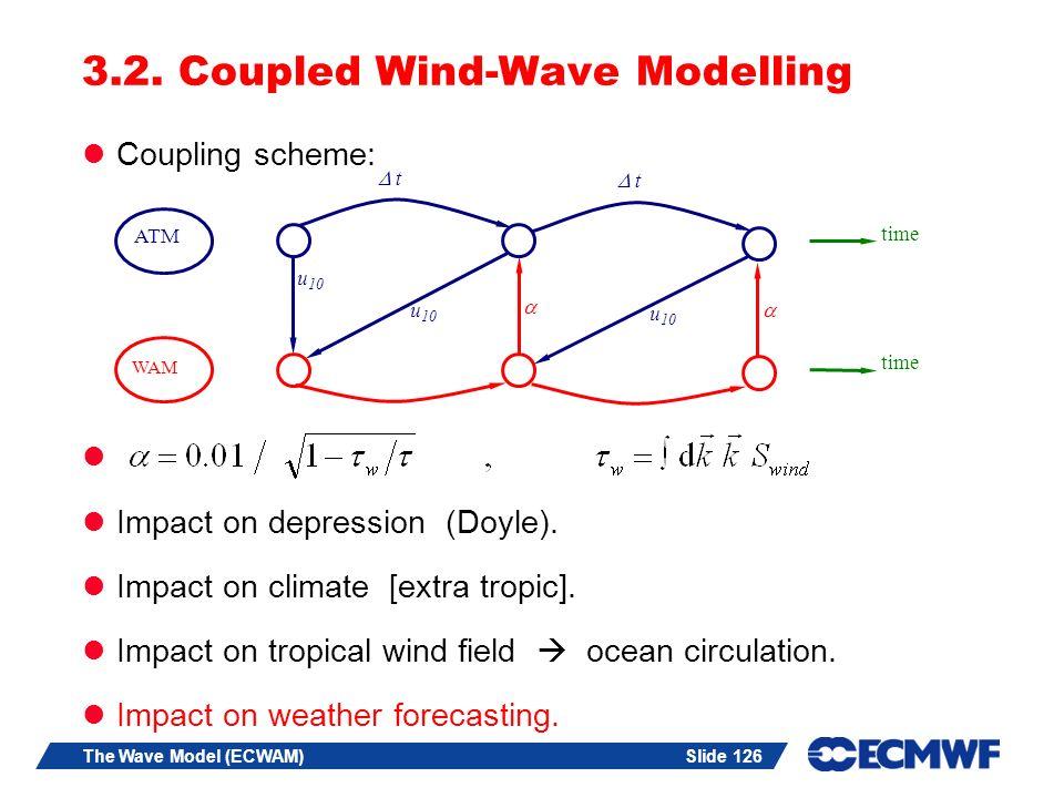 Slide 126The Wave Model (ECWAM) 3.2. Coupled Wind-Wave Modelling Coupling scheme: Impact on depression (Doyle). Impact on climate [extra tropic]. Impa