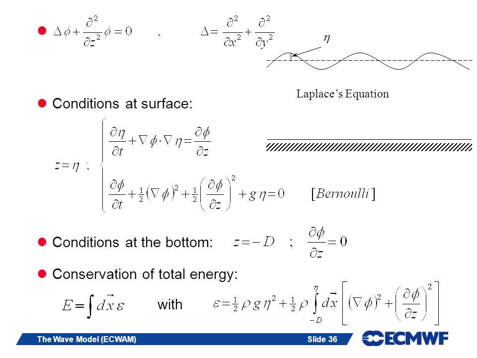 Slide 36The Wave Model (ECWAM) Conditions at surface: Conditions at the bottom: Conservation of total energy: with Laplaces Equation