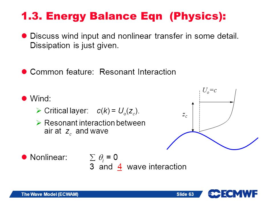 Slide 63The Wave Model (ECWAM) 1.3. Energy Balance Eqn (Physics): Discuss wind input and nonlinear transfer in some detail. Dissipation is just given.