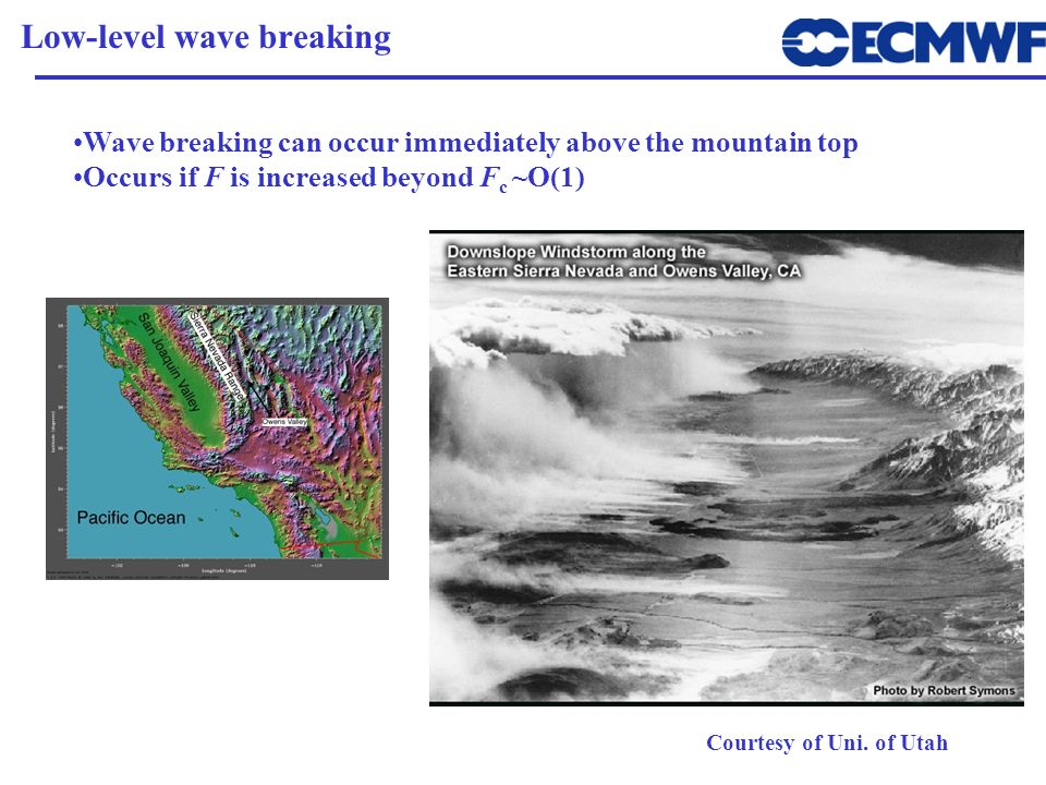 Wave breaking can occur immediately above the mountain top Occurs if F is increased beyond F c ~O(1) Low-level wave breaking Courtesy of Uni. of Utah
