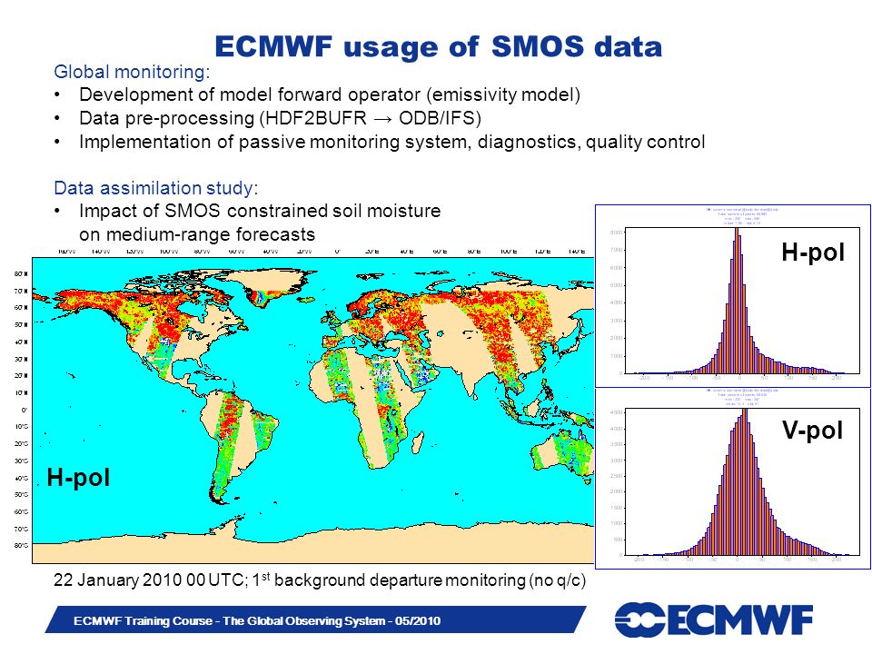 Slide 33 ECMWF Training Course - The Global Observing System - 05/2010 H-pol 22 January 2010 00 UTC; 1 st background departure monitoring (no q/c) Glo
