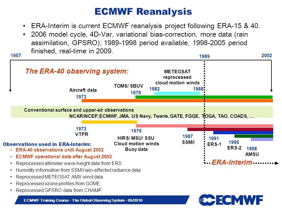 Slide 41 ECMWF Training Course - The Global Observing System - 05/2010 Observations used in ERA-Interim: The ERA-40 observing system: VTPR TOMS/ SBUV