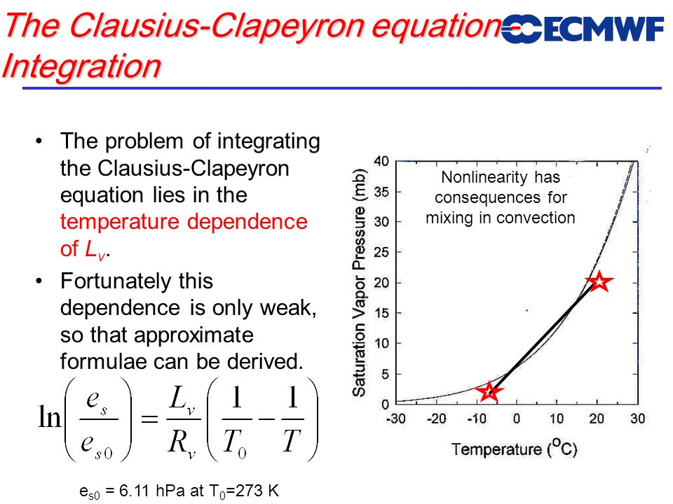The Clausius-Clapeyron equation - Integration The problem of integrating the Clausius-Clapeyron equation lies in the temperature dependence of L v. Fo