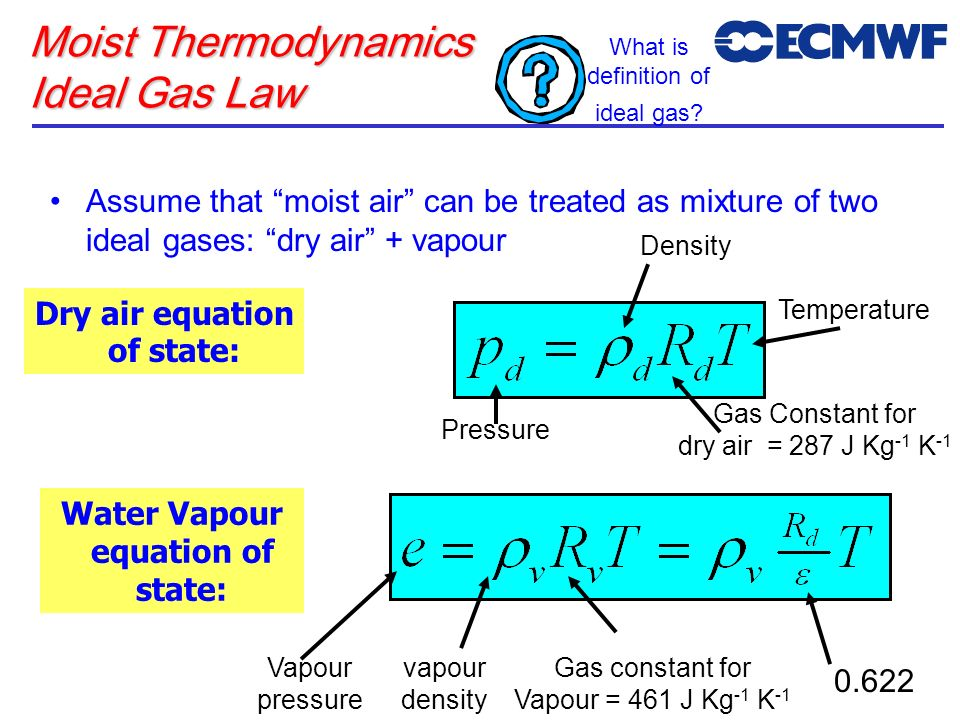 Moist Thermodynamics Ideal Gas Law Assume that moist air can be treated as mixture of two ideal gases: dry air + vapour Dry air equation of state: Gas
