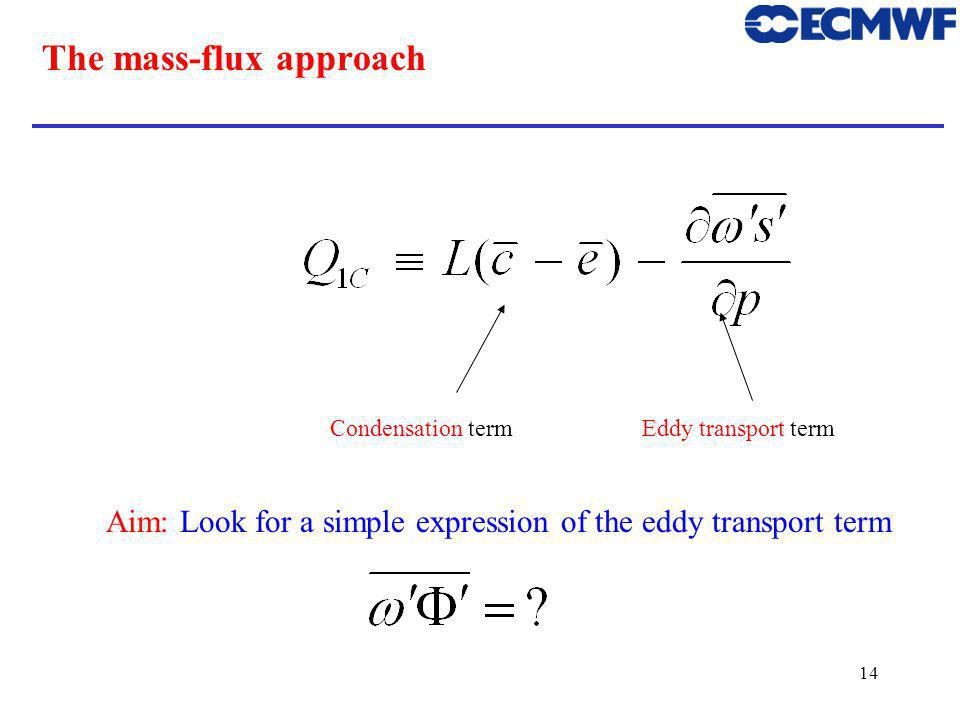 14 The mass-flux approach Aim: Look for a simple expression of the eddy transport term Condensation termEddy transport term