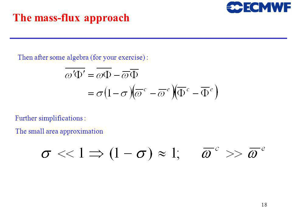 18 The mass-flux approach Then after some algebra (for your exercise) : Further simplifications : The small area approximation