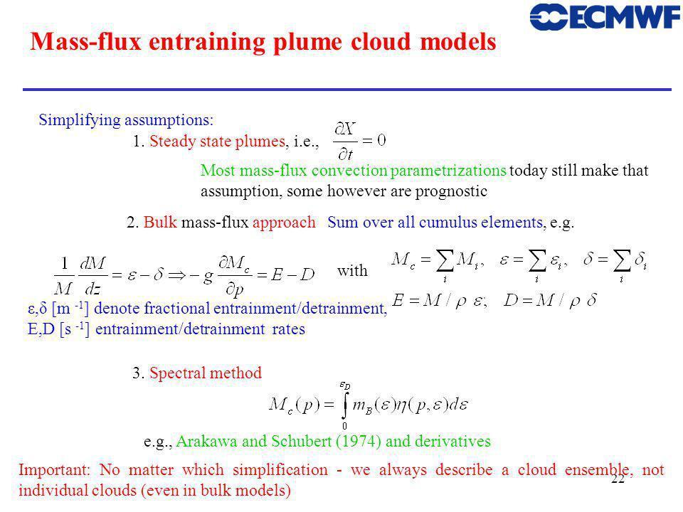 22 Mass-flux entraining plume cloud models Simplifying assumptions: 1.
