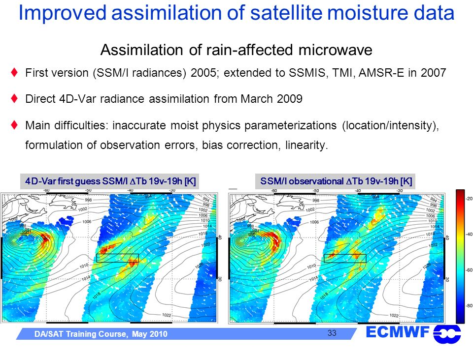 ECMWF DA/SAT Training Course, May 2010 33 First version (SSM/I radiances) 2005; extended to SSMIS, TMI, AMSR-E in 2007 Direct 4D-Var radiance assimila