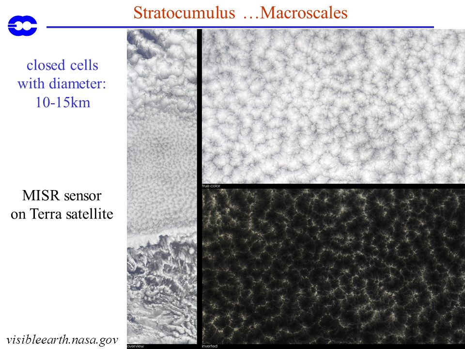 Stratocumulus …Macroscales visibleearth.nasa.gov closed cells with diameter: 10-15km MISR sensor on Terra satellite