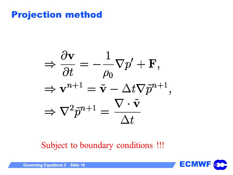 ECMWF Governing Equations 3 Slide 16 Projection method Subject to boundary conditions !!!