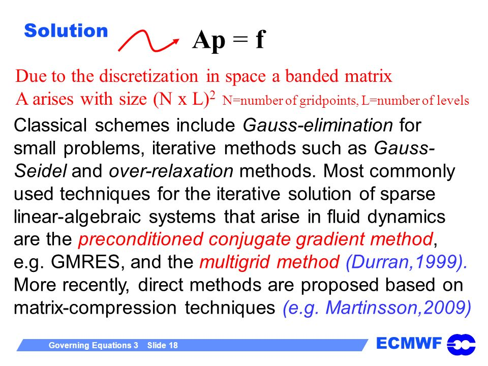 ECMWF Governing Equations 3 Slide 18 Solution Ap = f Due to the discretization in space a banded matrix A arises with size (N x L) 2 N=number of gridp
