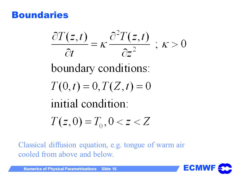 ECMWF Numerics of Physical Parametrizations Slide 16 Boundaries Classical diffusion equation, e.g. tongue of warm air cooled from above and below.