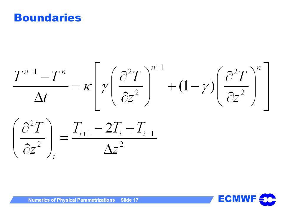 ECMWF Numerics of Physical Parametrizations Slide 17 Boundaries