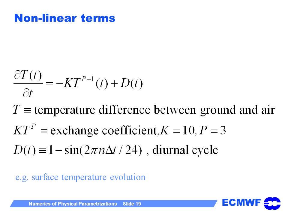 ECMWF Numerics of Physical Parametrizations Slide 19 Non-linear terms e.g. surface temperature evolution