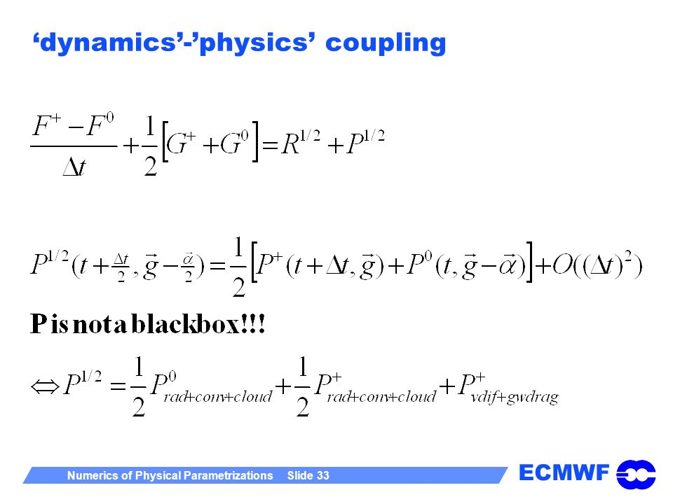 ECMWF Numerics of Physical Parametrizations Slide 33 dynamics-physics coupling