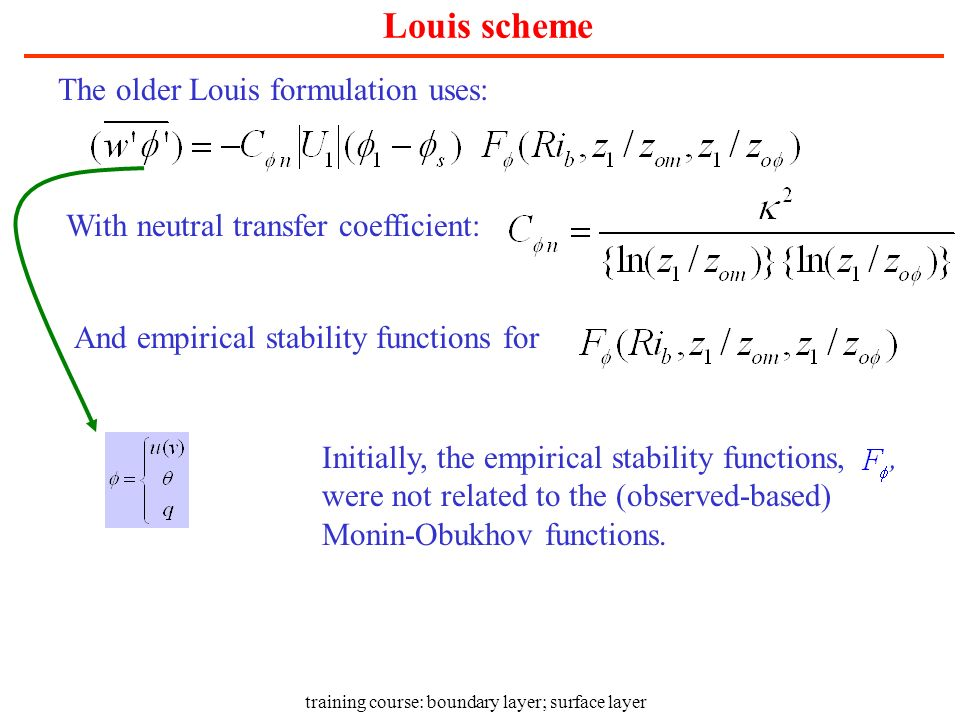training course: boundary layer; surface layer Louis scheme The older Louis formulation uses: With neutral transfer coefficient: And empirical stabili