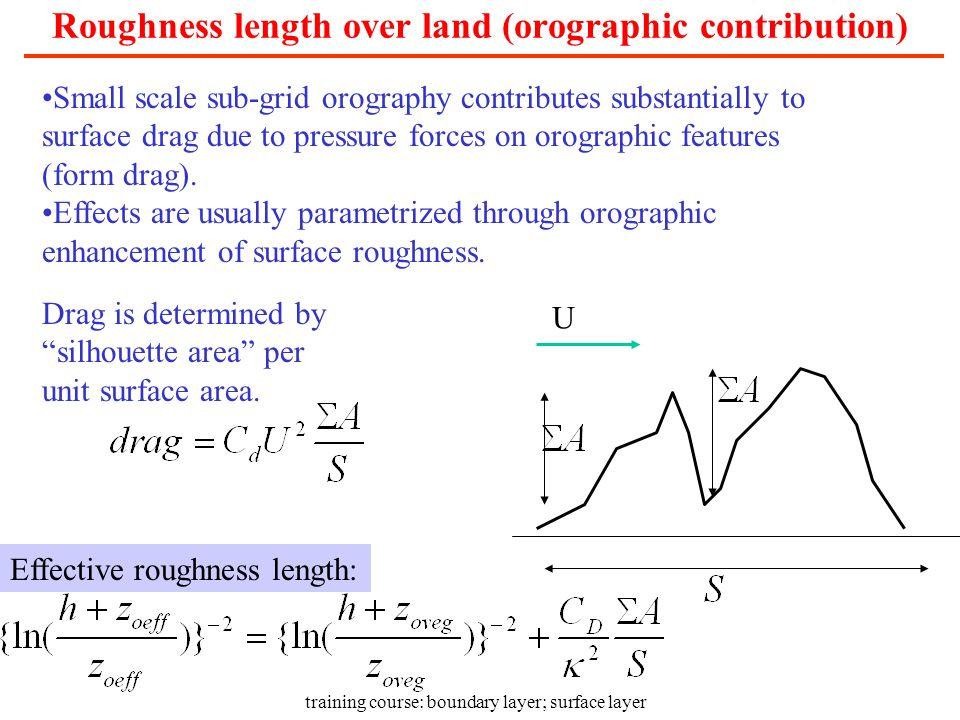 training course: boundary layer; surface layer Roughness length over land (orographic contribution) Small scale sub-grid orography contributes substan