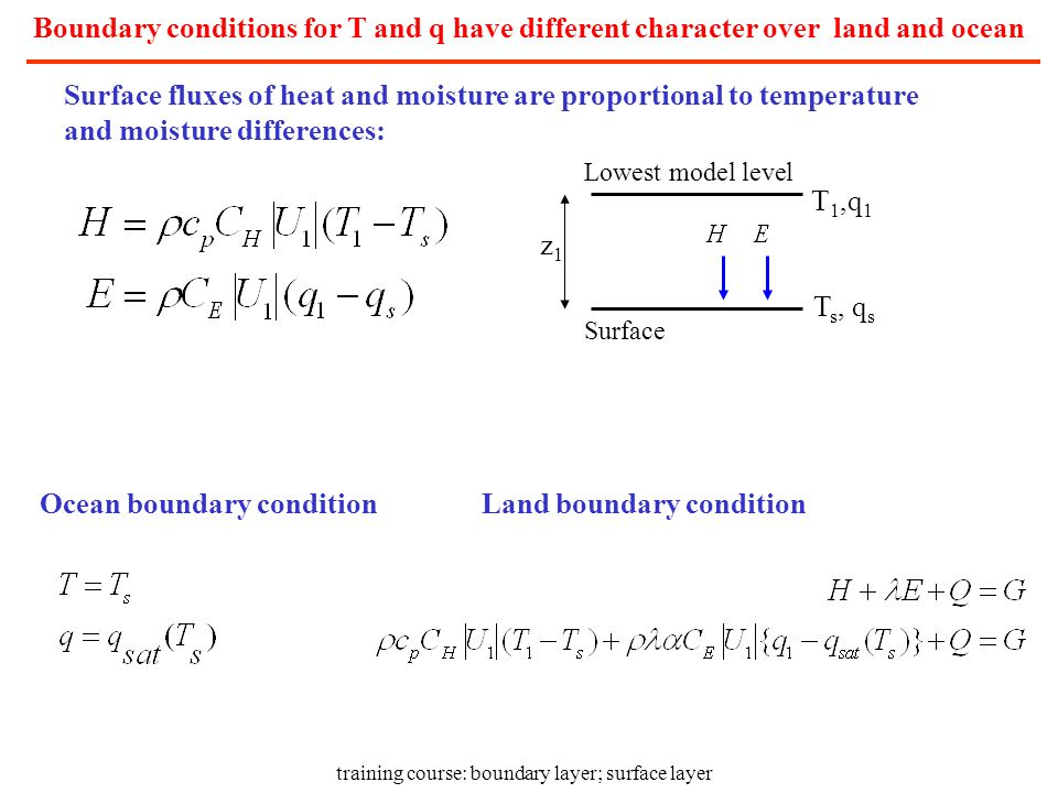 training course: boundary layer; surface layer Boundary conditions for T and q have different character over land and ocean Surface fluxes of heat and
