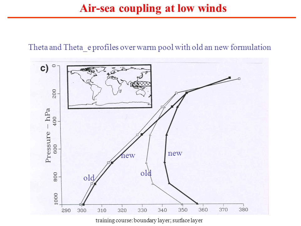 training course: boundary layer; surface layer Air-sea coupling at low winds Theta and Theta_e profiles over warm pool with old an new formulation new