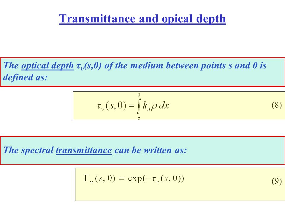 Transmittance and opical depth The optical depth τ υ (s,0) of the medium between points s and 0 is defined as: (8) The spectral transmittance can be w