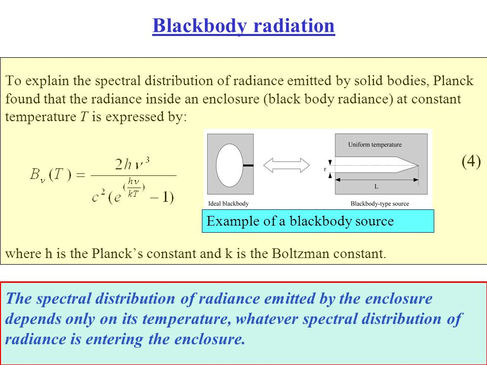 Blackbody radiation To explain the spectral distribution of radiance emitted by solid bodies, Planck found that the radiance inside an enclosure (blac