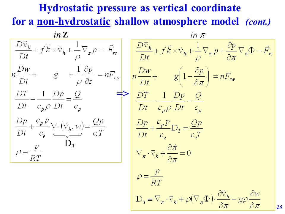 Adiabatic formulation of the ECMWF model20 Hydrostatic pressure as vertical coordinate for a non-hydrostatic shallow atmosphere model (cont.) => D3D3