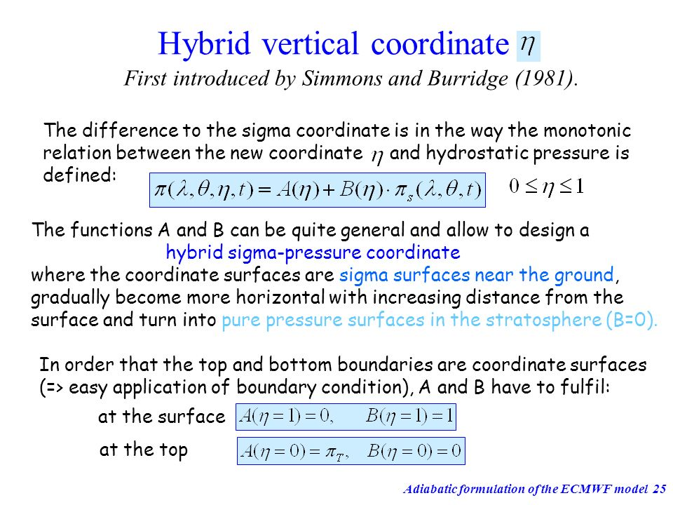 Adiabatic formulation of the ECMWF model25 Hybrid vertical coordinate First introduced by Simmons and Burridge (1981). The functions A and B can be qu