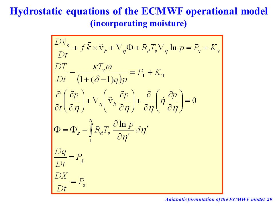 Adiabatic formulation of the ECMWF model29 Hydrostatic equations of the ECMWF operational model (incorporating moisture)