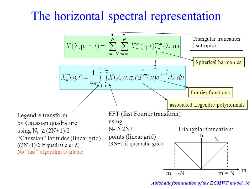Adiabatic formulation of the ECMWF model36 The horizontal spectral representation FFT (fast Fourier transform) using N F 2N+1 points (linear grid) (3N