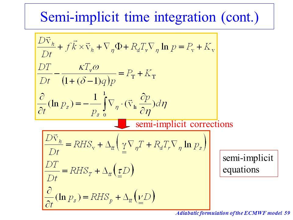 Adiabatic formulation of the ECMWF model59 Semi-implicit time integration (cont.) semi-implicit equations semi-implicit corrections