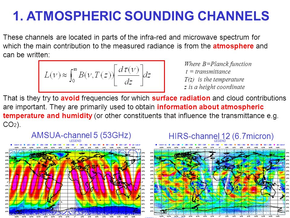 These channels are located in parts of the infra-red and microwave spectrum for which the main contribution to the measured radiance is from the atmos