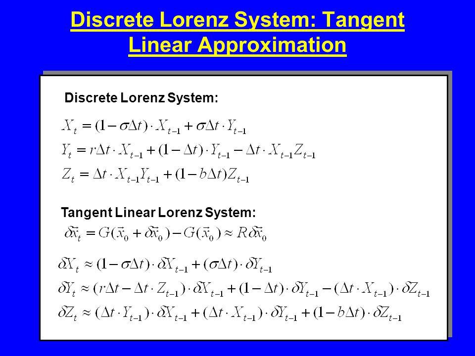 Discrete Lorenz System: Tangent Linear Approximation Discrete Lorenz System: Tangent Linear Lorenz System: