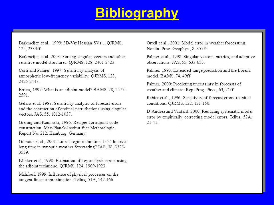 Bibliography Barkmeijer et al., 1999: 3D-Var Hessian SVs… QJRMS, 125, 2333ff. Barkmeijer et al. 2003: Forcing singular vectors and other sensitive mod